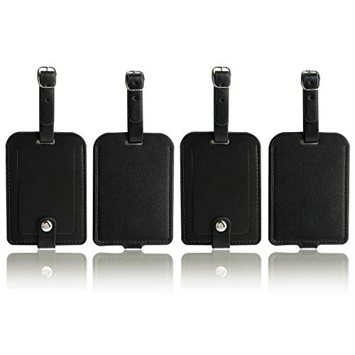 Luggage Bag Tags Leather Travel ID Labels Suitcase Name Tags with Snap (PU Black 4 pack)