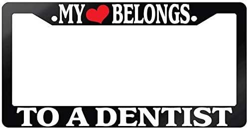 "Black License Plate Frame /""My Heart Belongs To A Farmer/"" Auto Accessory Novelty"
