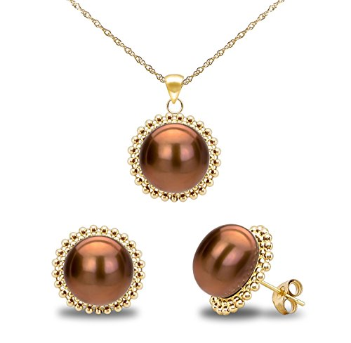 14k Yellow Gold 9-9.5mm Dyed-brown Freshwater Cultured Pearl Beaded Pendant and Stud Earrings Set -