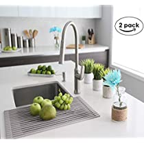 Over The Sink Roll-Up Dish Drying Rack 2-Pack | Trivet | Heat Resistant | Drying Dishes and Rinsing Vegetables| Gray | Bluic