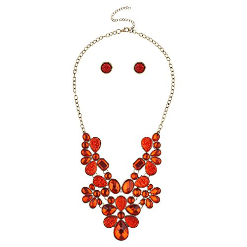 (Lux Accessories Gold Tone and Red Caviar Glitter Gemstone Statement Bib Necklace)
