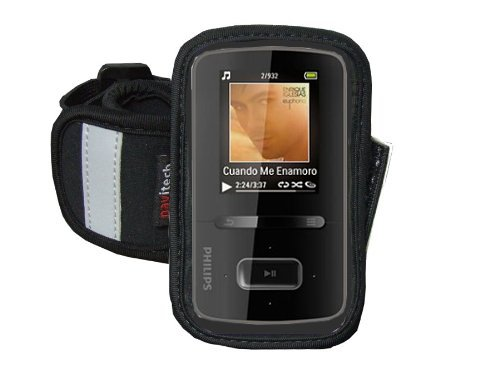 Navitech Black/Silver Neoprene Water Resistant Sports Gym, Jogging/Running Armband Case with Compatible with The Larger Smart Phones (4.0
