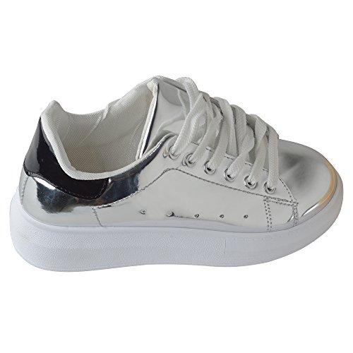 Spritech(TM) Men Women Unisex Fashion PU Leather Lace Up Lovers Casual Flat Sneaker Shoes Silver - Heel Welt Outside