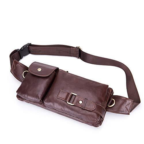 De Multifuncional Bolso Mano Bolsillos Cuero Piel Viajes Para Teléfono Hombre Móvil Brown Bandolera 4pdpqwz