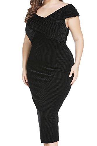 Plus Size Formal Velvet Wrap Long Dress for Cocktail Evening Prom Wedding Party Black 14 - Wear Eye Vogue