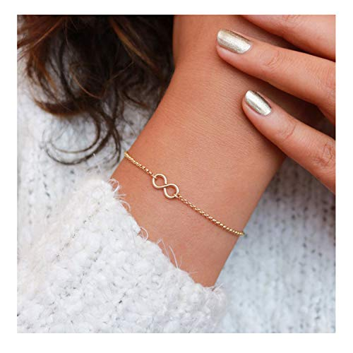 (Mevecco Gold Dainty Infinity Bracelet,14K Gold Plated Cute Tiny Delicate Elegant Forever Eternity Love Bracelet for Women)