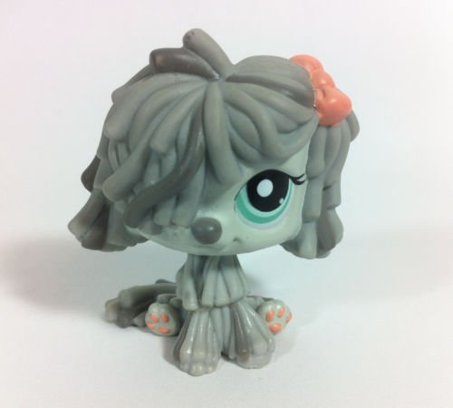 Littlest Pet Shop Gray Shaggy Sheep Dog 1458 w/ Aqua Blue