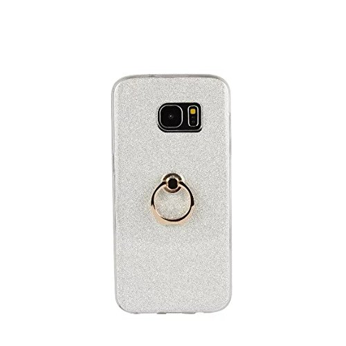 Case Back White Silicone Soft for Cover Anti Fingerring Shockproof Stand with Galaxy Samsung Style Scratch Flexible S7 Edge TPU Color Luxury White Glitter Bling Sparkle q4fSYStz