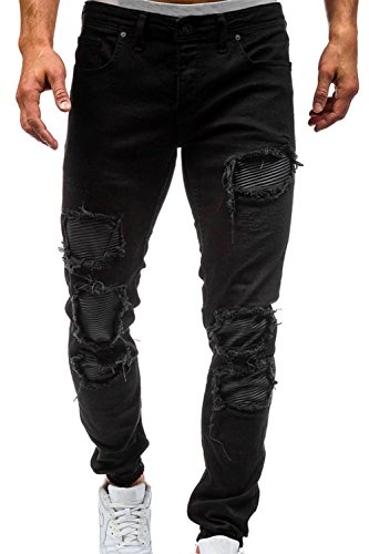 Men's Skinny Slim Fit Straight Ripped Destroyed Distressed Zipper Stretch Knee Patch Denim Pants Jeans (32, Z-Black) by Dovee