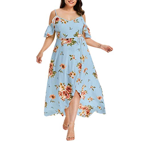 Pitauce Women's Off Shoulder Ruffles Asymmetrical High Low Hem Boho Long Dress with Belt Plus Size Dress Blue