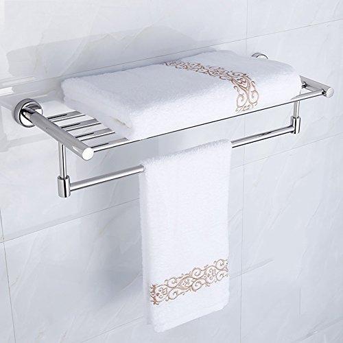 Bathroom Shelf Rack Washroom Shower Wall Mounted Corner Towel Rack Stainless Steel Mirror Reflection, 608 225 140mm ()