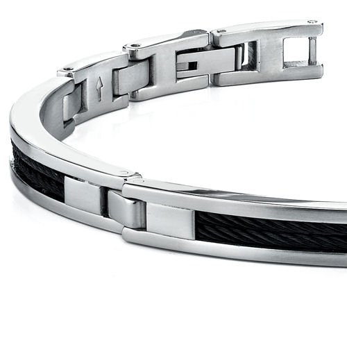 Ultra Modern Mens Stainless Steel Bracelet with twisted cable