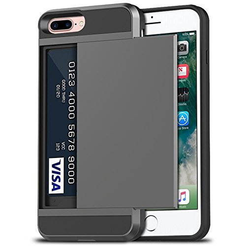 iPhone 7 Plus Case, iPhone 8 Plus Case, Anuck Shockproof iPhone 7/8 Plus Wallet Case [Card Pocket][Slide Cover] Anti-Scratch Protective Shell Armor Rubber Bumper Case with Card Slot Holder - Gray