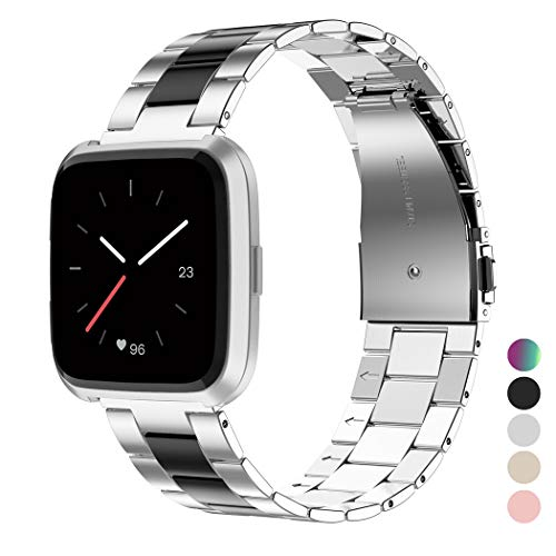 Wearlizer Stainless Steel Compatible for Fitbit VersaBands Women Men, Replacement Band Strap Bracelet