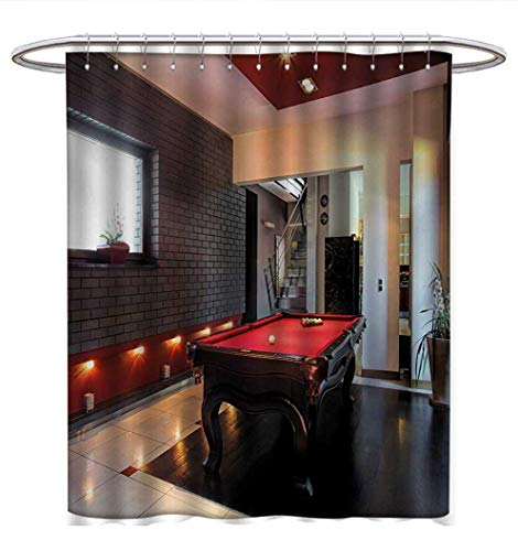 Anhuthree Modern Shower Curtain Customized House with Snooker Table Hobby Pool Game Flat Furniture Leisure Time Print Fabric Bathroom Set with Hooks W72 x L84 Red Brown White ()