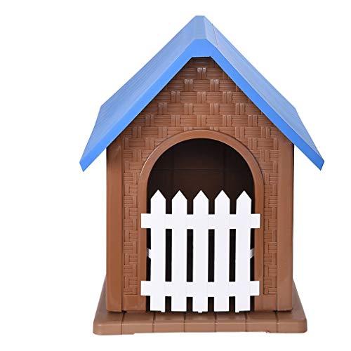 DEESEE(TM)Pet Waterproof Plastic Dog Kennel Outdoor Winter House with Door Easy Assemble ()