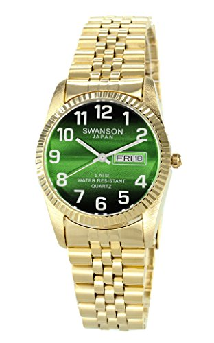 Swanson Men's Gold Day-Date Watch Faded Green Dial with Large White Numbers