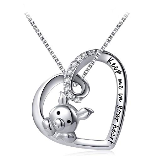 (IminiJewelry Cute Little Pig Sterling Silver Crystal Love Pendant Necklaces for Her Women Girls Engraved Keep Me in Your Heart Nice Gifts)