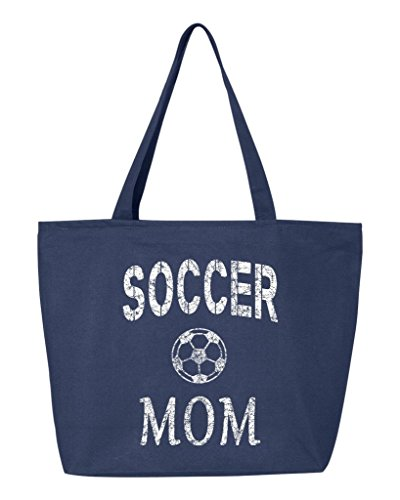 Shop4Ever Soccer Mom Heavy Canvas Tote with Zipper Mother's Day Reusable Shopping Bag 12 oz Navy -Pack of 1- Zip