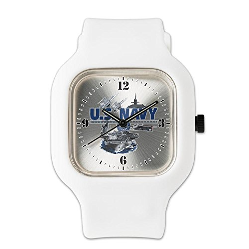 White Fashion Sport Watch US Navy Aircraft Carrier Planes (White Watch Ladies State)