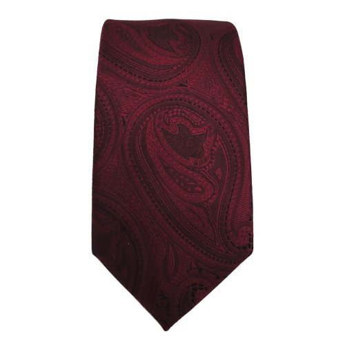 étroit TigerTie Designer cravate rouge bordeaux noir paisley motif -Tie