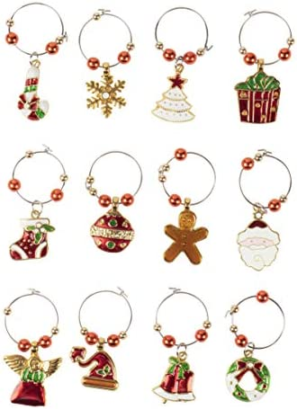 12 Pack Wine Glass Charms Christmas product image