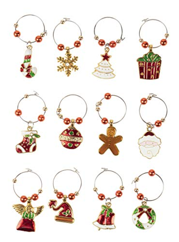 12-Pack Wine Glass Charms - Christmas Themed Wine Glass Markers, Wine Glass Tags, Drink Markers, Wine Favors, Assorted Designs - Gingerbread Embellishments