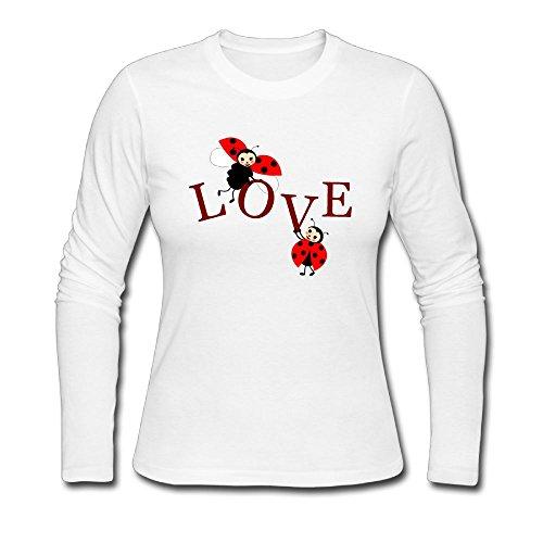 Qear Eternal Love Between Ladybugs Women's Long-Sleeved Round Neck T-Shirts White XL]()