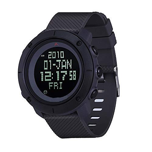 5 ATM vattentäta digitala militära klockor, militär kronograf för män, svart sport vattentät design