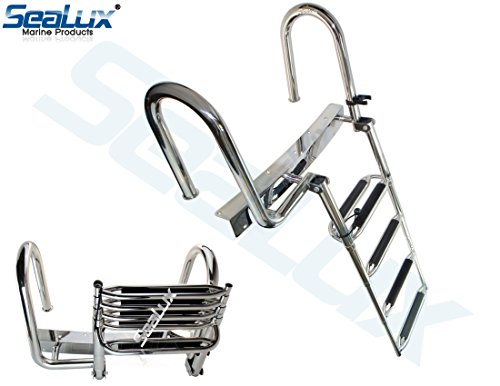 SeaLux Pontoon Boat Stainless Extra Wide Deluxe Rear Entry Folding 4- step Boarding Ladder (OEM Product)