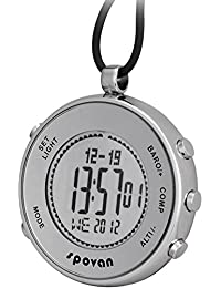 Spovan Silver Digital Pocket Watches Hiking Altimeter Barometer Compass