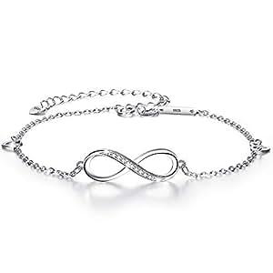 EVER FAITH 925 Sterling Silver CZ Infinity Symbol Heart Charm Adjustable Bracelet Gift for Women Girls