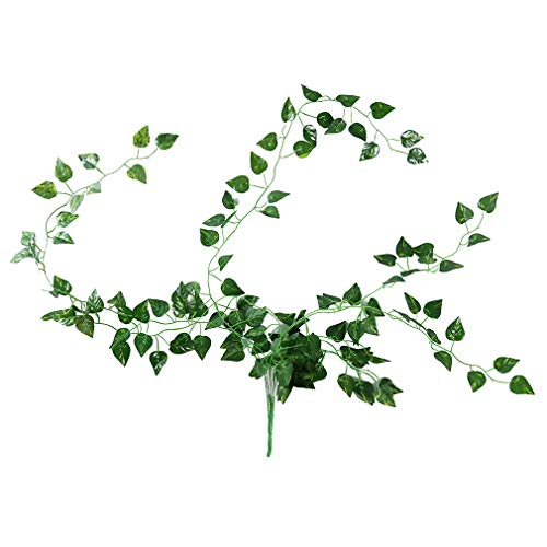 NIKOLay Faux Hanging Plant Green Radish Sweet Potato Watermelon Vine Leaves Wall Hanging Wedding Crowns Party Decoration,D1 Green Rose Wall Hanging