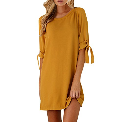 OldSch001 Dresses Clearance,Women's Fall Solid Color Half Bowknot Sleeve Cocktail Mini Dress Casual Short Dress(Yellow,S)