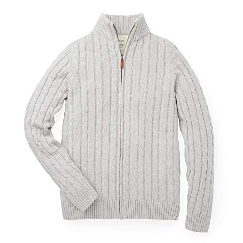 Hope & Henry Mens' Grey Mock Neck Cable Sweater with Full Zipper