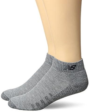 New Balance Technical Elite Coolmax Low Cut Socks (2 Pack), Grey, Men's 7.5-9/Women's 6-10