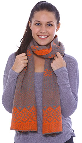 Women's Snowflake Reversible Multi-Colored Knit Long Scarf Shawl, Grey, ()