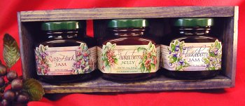 Jam & Jelly 3 different 5oz Jar Handcrafted Gift Crate, this Set is from Huckleberry Haven and features Chokecherry Jelly, Huckleberry Jam and Rasy-Huck Jam by Taste the Wilderness