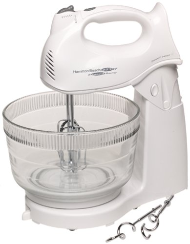 White mixer with a glass bowl.