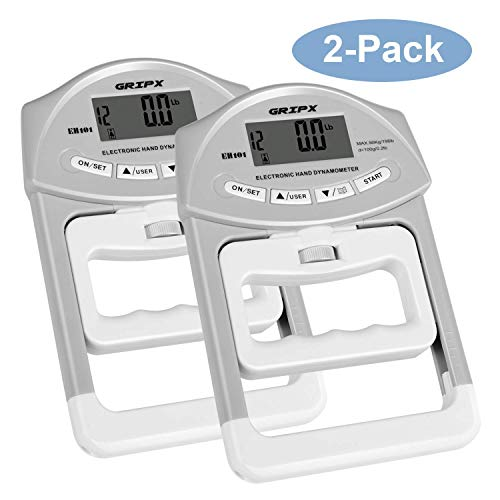- GRIPX Digital Hand Dynamometer Grip Strength Measurement Meter Auto Capturing Electronic Hand Grip Power 198Lbs / 90Kgs, 2-Pack
