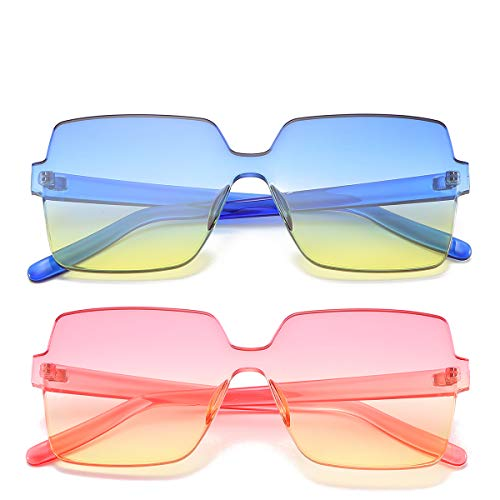 (Oversized Square Candy Colors Transparent Lens Rimless Frame Unisex Sunglasses (02Pink-Yellow/Blue-Yellow))