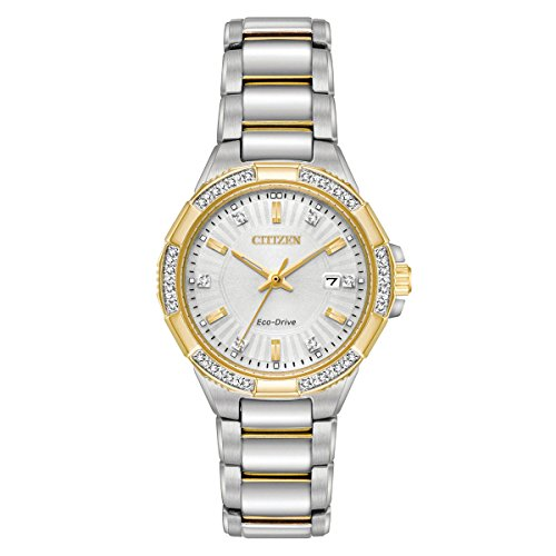 Citizen Women's 'Eco-Drive' Quartz Stainless Steel Casual Watch, Color:Two Tone (Model: EW2464-55A)
