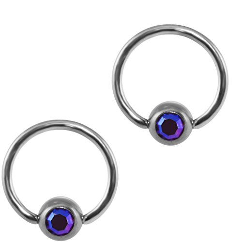 Two AB Amethyst Color Purple Captive Bead Rings-20g-18g-16g-14g Cartilage Earrings-Steel (Ab 12mm Beads)
