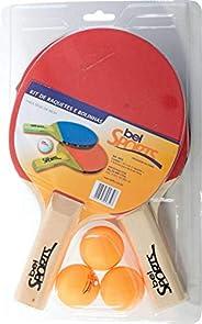 Kit Tênis de Mesa - 2 Raquetas + 3 Bolinhas Bel Fix Vermelho/Preto
