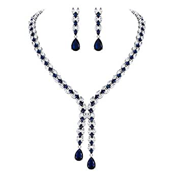 Clearine Women's Wedding Bridal CZ Triple Layered Leaf Vine Scarf Y-Necklace Dangle Earrings Set Sapphire Color Silver-Tone