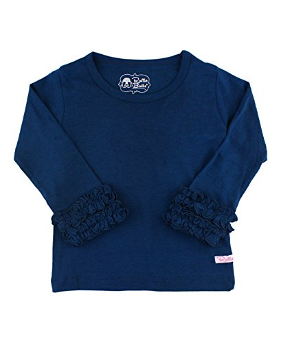 RuffleButts Little Girls Navy Ruffled Long Sleeve Layering Tee - ()
