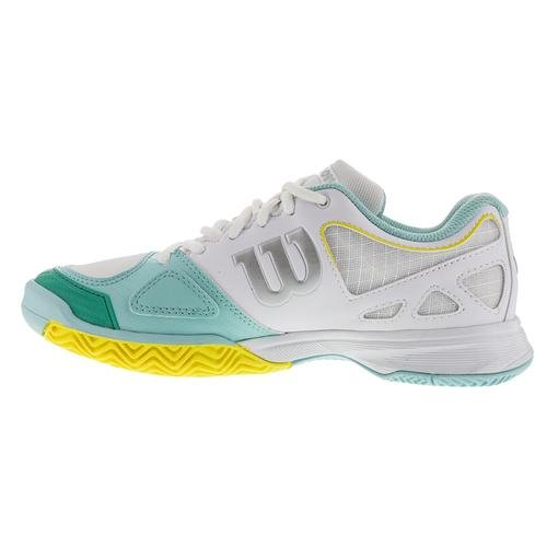 Wilson Rush Evo Womens Tennis Shoe White/Aruba Blue/Yellow very cheap price outlet lowest price discount looking for buy cheap best sale DQazxkwci