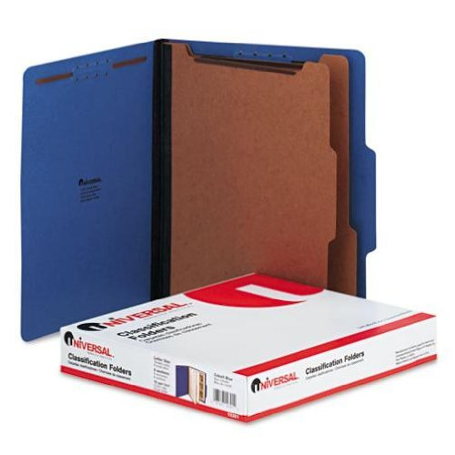 Universal 10301 Pressboard Classification Folders, Letter, Six-Section, Cobalt Blue, 10/Box