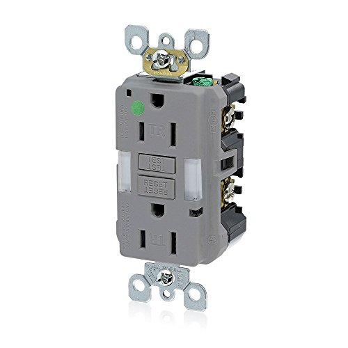 Leviton GFNL1-HGG 15A-125V Hospital Grade Tamper-Resistant Guide Light Duplex Self-Test GFCI Receptacle, 15-Amp, Gray