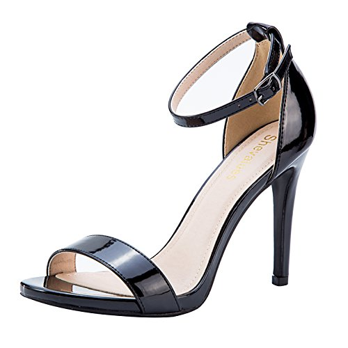 Black High Heel Stiletto Sandals Women's Open Toe Dress Pumps Classic Single Band Ankle Strape Dress Sandals BK9 ()